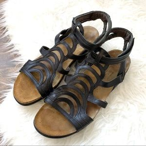 Naot strappy sandals leather cork ankle strap shoe